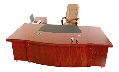 Jet-line Chef Schreibtisch Büromöbel Arbeitstisch Büro Paris rechtsseitig Eckschreibtisch Winkelschreibtisch Büro Kirschholz Echtholz Homeoffice Home Office