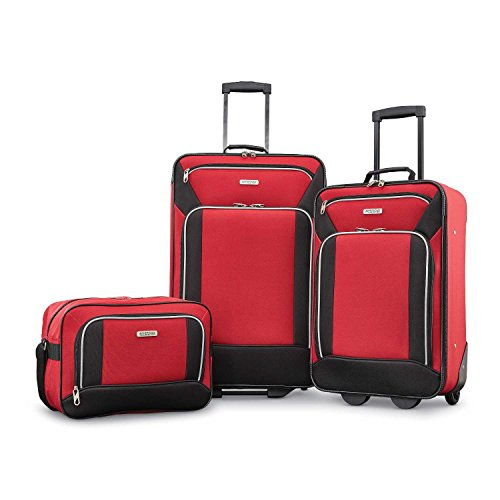 American Tourister Fieldbrook XLT Softside Luggage, Red/Black, 3-Piece Set