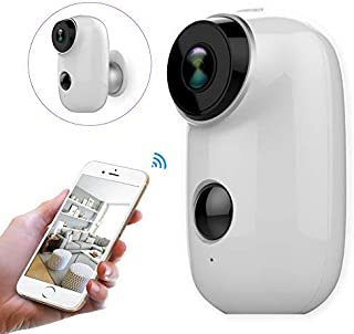 WiFi Security Camera Home Camera Rechargeable Battery Power Operated 6000mah Indoor Outdoor Night Vision PIR Motion Detect...