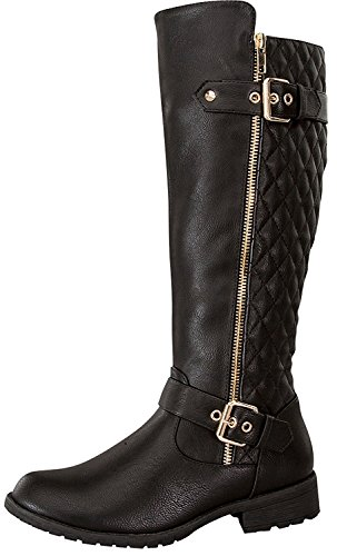 TOP Moda Women's Bally-32 Knee High Quilted Leather Riding Boot (6, Black)