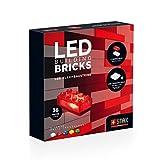 STAX Basic transparente, S-12036, bloques de montaje LED, compatible con todas las marcas de bloques de construcción conocidas, 36 formatos STAX Brick, batería móvil recargable y cable USB, multicolor