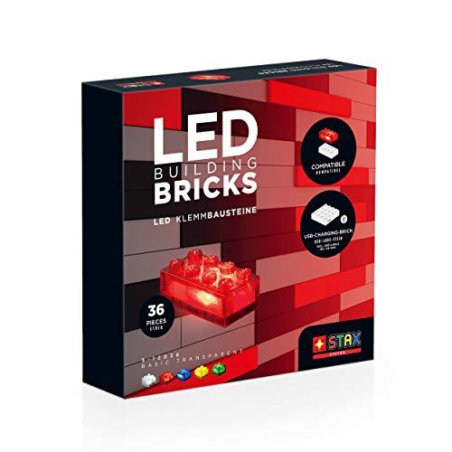 STAX Basic Transparent, S-12036, LED Klemmbausteine, kompatibel mit Allen bekannten Bausteinmarken, 36 STAX Bricks Formaten, aufladbarer Mobile Power Brick und USB-Kabel Mehrfarbig