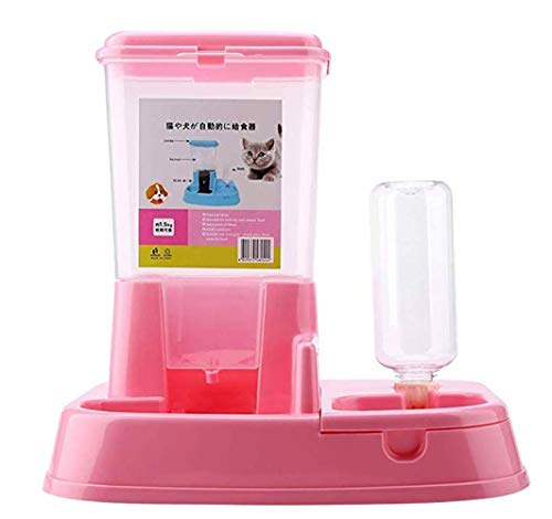 Automatic Food and Water Dispenser Set for Dogs & Cats, Pet Food & Water Feeder Drinking Fountain Food Dispenser with 1.5kg Store (Pink)