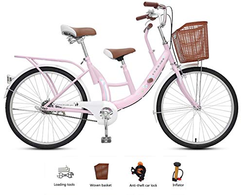 Tandem Bikes Fahrrad Tandem Single Speed 31 Zoll kann das Baby nehmen, um die Kind V Bremse/Scheibenbremse mit Kohlenstoffstahl Rahmen (Aluminiumlegierung Felge) aufzunehmen.