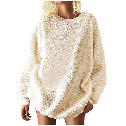 Oversized Sweatshirts Womens Xmas Fleece Warm Pullover Sherpa Fuzzy Long Sleeve Blouses Christmas O-Neck Tunic Beige