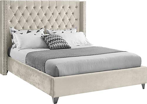 Meridian Furniture Aiden Collection Modern   Contemporary Velvet Upholstered Bed with Deep Button...