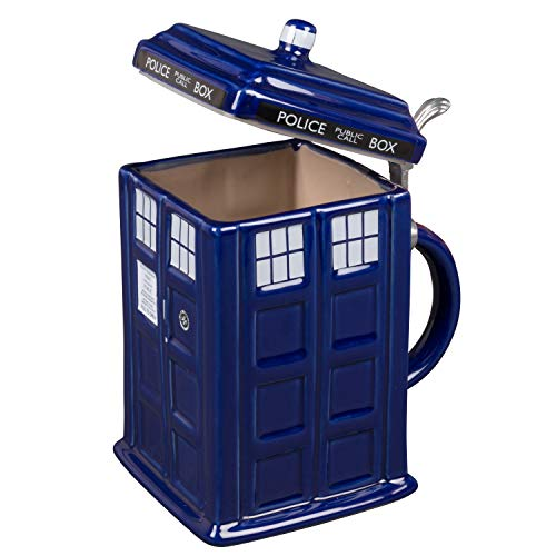 Doctor Who TARDIS Beer Stein - Collectible Dr. Who Ceramic Mug with Pewter Metal Hinge - Large 50oz