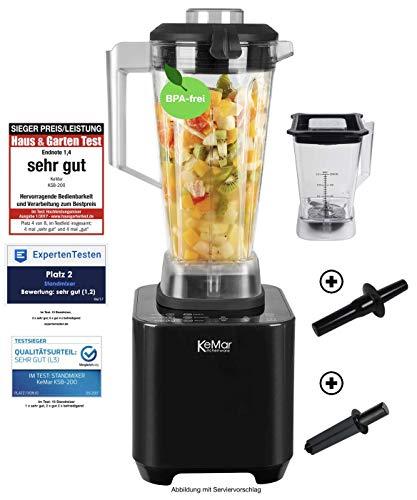 KeMar Kitchenware KSB-200 B Hochleistungsmixer, Standmixer, LED Touch Bedienung, 1.500W, 30.000 U/min, inkl. 1 + 2 Liter Behälter BPA-frei, 6 Programme, manuelle Einstellung, Schwarz Metallic