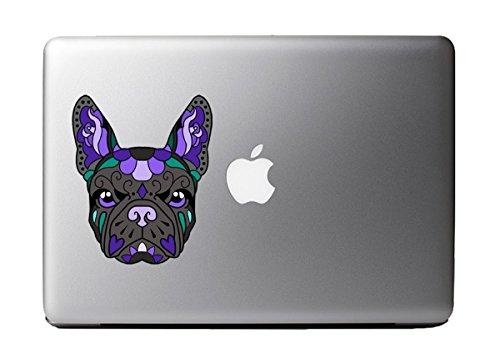 French Bulldog Sugar Skull Black and Purple Art Full Color Decal for 13' Macbook