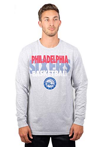 Ultra Game NBA Philadelphia 76ers Mens Supreme Long Sleeve Pullover Tee Shirt, Heather Gray, Large