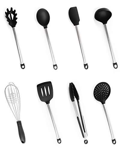 Utensilios Cocina Silicona, Bi-Komfort 8 Pcs Cocina Accesorios; Incluyen Pinzas Cocina, Tenedor...