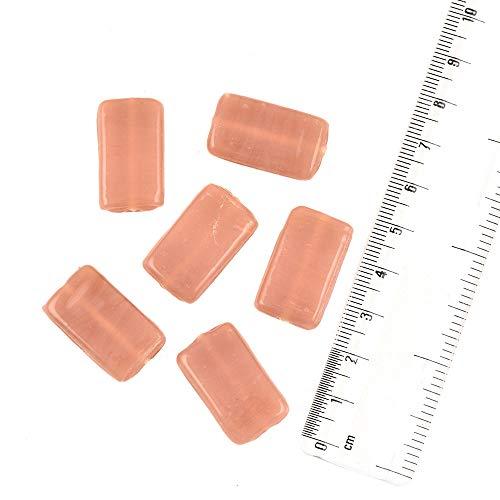 IndianShelf - Cuentas de vidrio rectangulares de salmón rojo opaco hecho a mano, para hacer joyas, pulseras y collares (rojo, 1,5 cm), paquete de 12