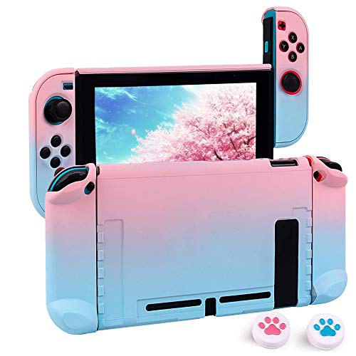 Upgraded Dockable Case for Nintendo Switch, FANPL Protective Case Cover for Nintendo Switch and Joy Con Controller with 2 Cat Paw Thumb Grips