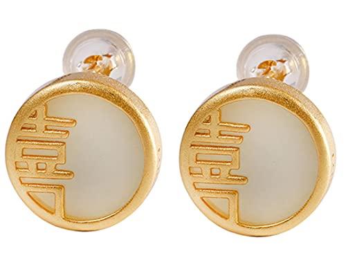CHXISHOP Pendientes de Plata de Ley 925 Pendientes Hetian Jade Pendientes Moda Mujeres All-Match Pendientes Style 2