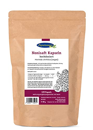 Nonisaft Kapseln | Nahrungsergänzungsmittel mit Noni | hohe Nährstoffdichte und hohe Bioverfügbarkeit | Apothekenqualität |120 Kapseln