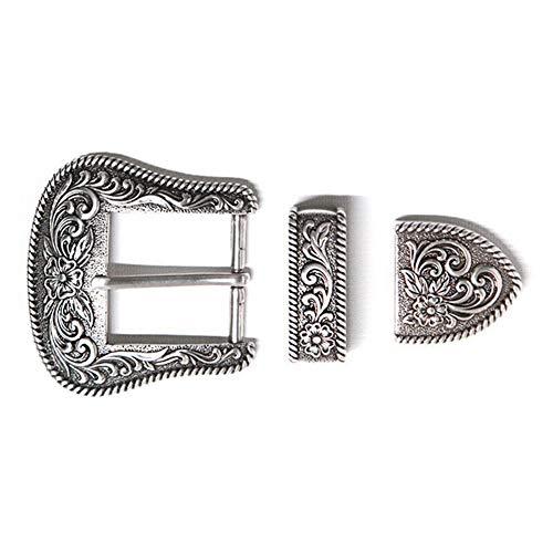 Fxhan Western Retro Floral Engraved Antieke riem gesp Set 3 stuks Fits 38 mm Belt Decor