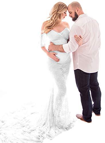 FEOYA - Falda para Embarazo Fotos Vestido de Embarazada Verano Mujer Vestidos de Premamá Encaje Ropa de Maternidad Elegante para Atrezzo Fotografia Sesión de Fotos - L - Blanco