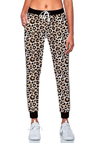 Rave on Friday Pantalones Deportivos Mujer Largos de Secado rápido,Altos de Cintura Estampado de Leopardo Yoga Fitness Legging pantalón con Cinturón elástico,Pijamas Mujer S