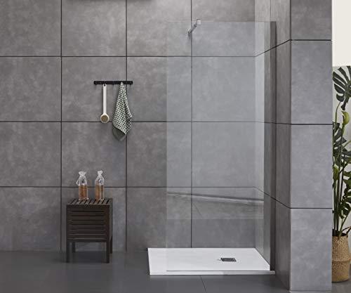 Box doccia Parete doccia 140 cm walk in altezza 198 cm, profilo in acciaio inox cristallo trasparente temperato anticalcare 8 mm 140 cm (138/140)