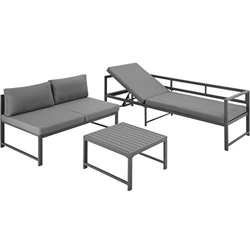 TecTake 403903 Aluminium Sitzgruppe für Garten, Balkon und Terrasse, wetterfest, 6-Fach verstellbare Rückenlehne, inkl. weiche Sitz- und Rückenkissen, grau - 8
