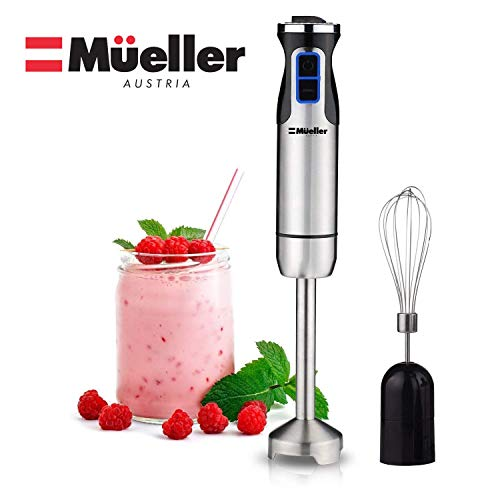 Mueller Austria Ultra-Stick 500 Watt 9-Speed Immersion Multi-Purpose Hand Blender Heavy Duty Copper Motor Brushed Stainless Steel Finish With Whisk Attachment, Silver