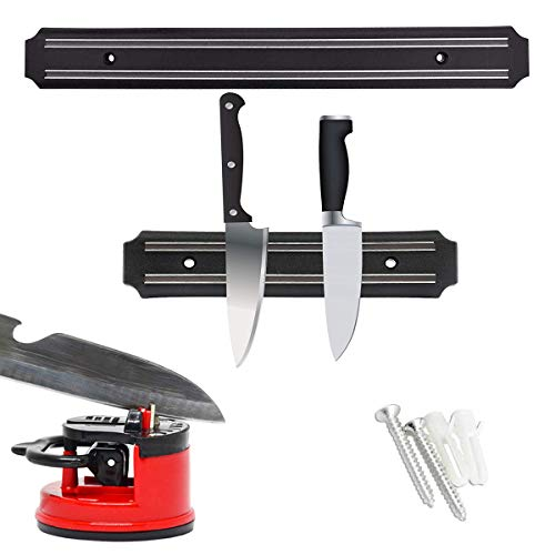 Smavles Magnetic Knife Holder 2 Pcs Magnetic Knife Rack Kitchen Knife Magnetic Strip Wall Mounted Kitchen Utensil Holder,with Knife Sharpener