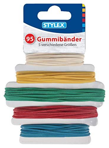 Stylex 31321 - Gummibänder, 95 Stück in 5 verschiedene Farben und Größen im Durchmesser von 90 mm, 120 mm, 130 mm, 150 mm, 180 mm sortiert