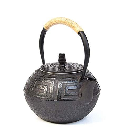 Tcbz Juego de té de Tetera de Hierro Fundido Vintage Grande de 1,2 l con infusor de Acero Inoxidable para té Suelto Pared Interior oxidada sin Recubrimiento