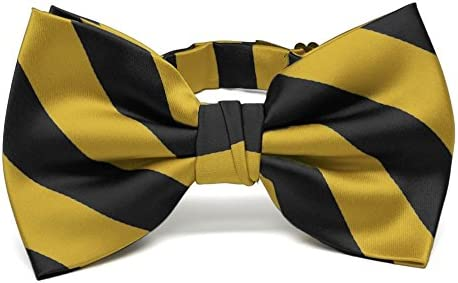 TieMart Striped Bow Tie Black and Gold product image