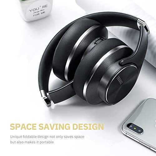 DOQAUS Bluetooth Headphones Over Ear, [52 Hrs Playtime] Wireless Headphones, 3 EQ Modes, Foldable Hi-Fi Stereo Bass Headphones, Soft Memory Protein Earmuffs, Built-in Mic & Wired Mode for TV/PC/Phone