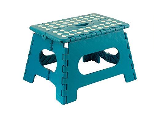 Ovibell Klappbarer Tritthocker blau bis 150 kg - tragbar, rutschfest - perfekt für Bad, Küche & Kinderzimmer