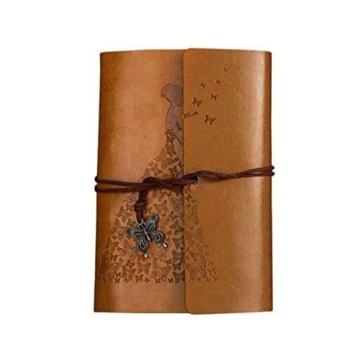 siqiwl Libro de visitas clásico de papel kraft con correa portátil creativa de mariposa, libro de regalo, libros de invitados de la firma de la PU y el papel amarillo