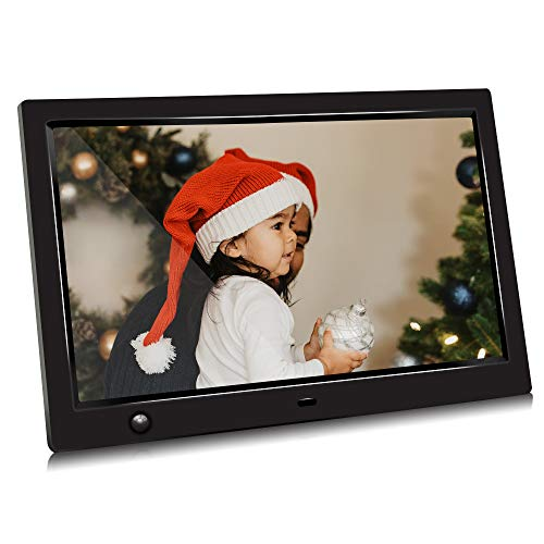 10 inch IPS Screen Digital Photo Frame, Digital Picture Frame with Motion Sensor, Timing Power On/Off, Support 1080P HD Video Player, Background Music, MP3, Calendar, USB Drive, SD Card [Jimwey]