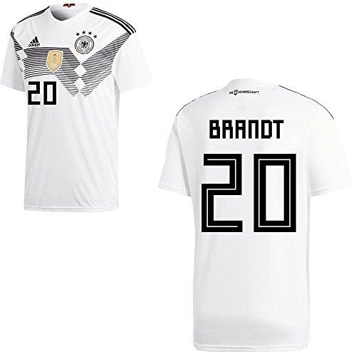 adidas DFB Deutschland Fußball Trikot Home Heimtrikot WM 2018 Herren Kinder mit Spieler Name Farbe Brandt, Größe XL