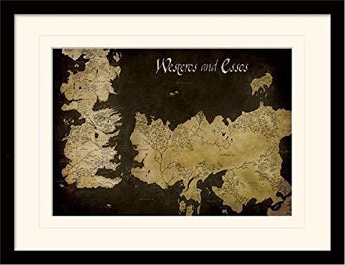Game Of Thrones 30 x 40 cm de Juego de Tronos Poniente y Essos Mapa Antiguo montado y impresión enmarcada