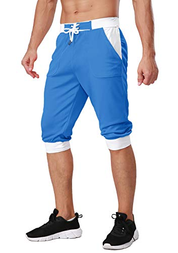 TACVASEN Mens Big and Tall Running Performance Shorts Mesh Summer Lounge Shorts Blue, 32