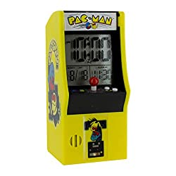 Paladone Pac Man Alarm Plays Official Game Sounds | Use Arcade Buttons to Set Clock | LCD Battery Powered | Iconic & Retro Design, 8 x 10 x 16 cm, Multi-Colour