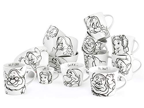 dasavino Set 8 Pezzi TAZZINE Caffe' in Ceramica Originale Disney Biancaneve E I 7 Nani Bianco E Nero
