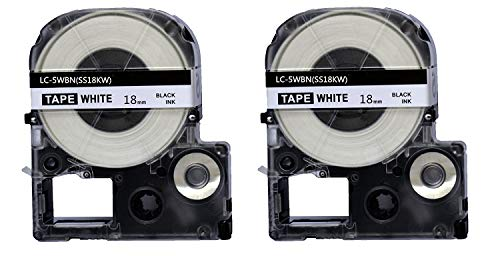 2PK Onirii Compatible Epson Labelworks Label Tape Cartridge LW-400 LW-500 LW-600 LC-5WBN9(LK-5WBN) Black On White Label Maker Tape Refill Cartridge 18mmx26.2ft