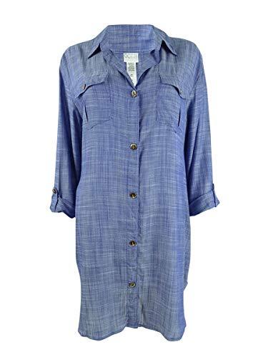 Dotti Plus Size On Island Time Shirtdress Cover-Up Denim 2X