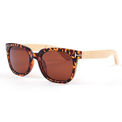 Sunglass Fashion Estilo de Ojos de Gato Marco Completo Pierna de bambú Unisex Gafas de Sol polarizadas de Color Protección UV Artesanía para Hombres Mujeres (Color : Animal Print)