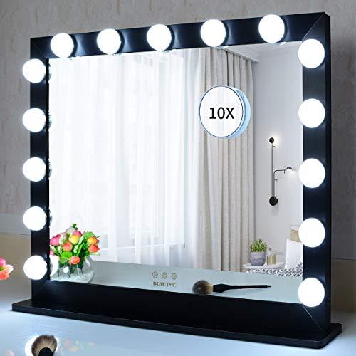 WONSTART Grande Espejo de tocador, Espejo Hollywood con Luces. 15 Luces LED de pie o Montaje en Pared. Iluminación de 3 Colores (70 * 55.2 cm) (Negro)