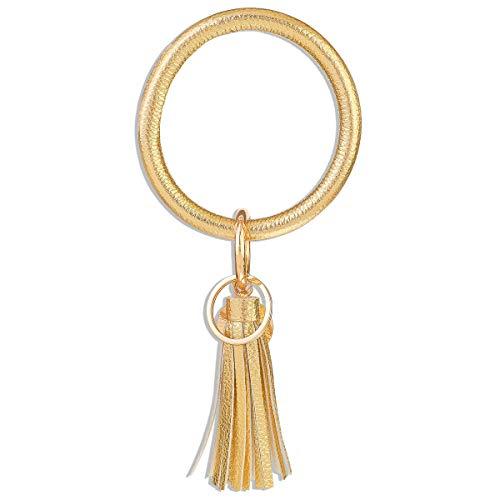 Leder Armband Schlüsselbund Armreif Schlüsselring Quaste Armband Schlüsselhalter Großer Kreis Armband Schlüsselbund für Damen Mädchen (Goldgelb)