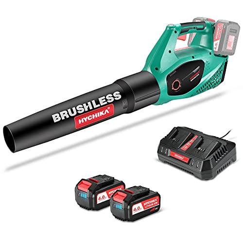 Soplador de Hojas a Batería Brushless 36V, HYCHIKA 2x 4.0Ah Batería, 2 Velocidades, 212 Km/h, Cargador Rápido, Soplador de Aire Inalámbrico, para Limpiar Hojas, Polvado de Garaje y Basura Pequeña