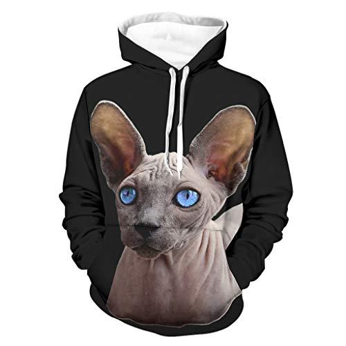 Herren Hoodies Sphinx Katze Lustig Stylisch Atmungsaktiv Design Hoodie Gr. M, weiß