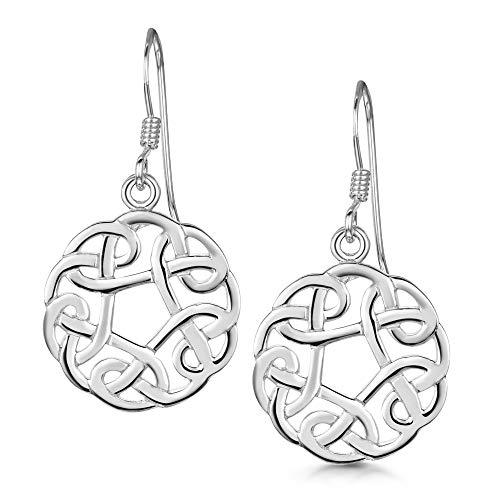 Amberta Par de Pendientes Celtas en Plata de Ley 925 - Pendientes con Nudo de Trébol para Mujer