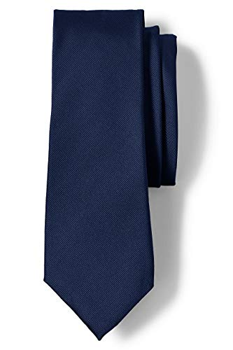 Lands' End Men s Silk Repp Necktie Regiment Navy Regular No Sz