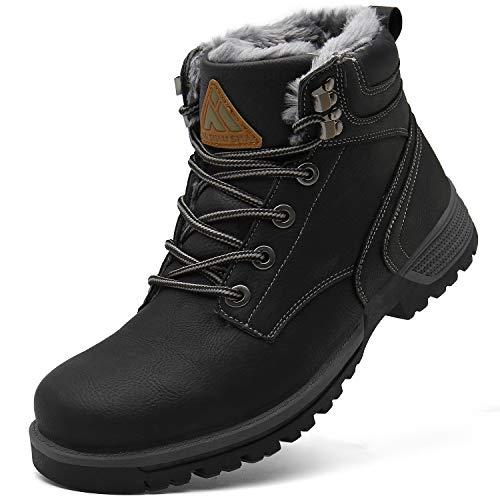 Mishansha Botas de Nieve Hombre Cálidas Forrados de Piel Winter Boots Impermeable Antideslizantes Bota de Trabajo Resistente al Desgaste Cómodas Zapatos de Invierno Casual, Trek Negro 39