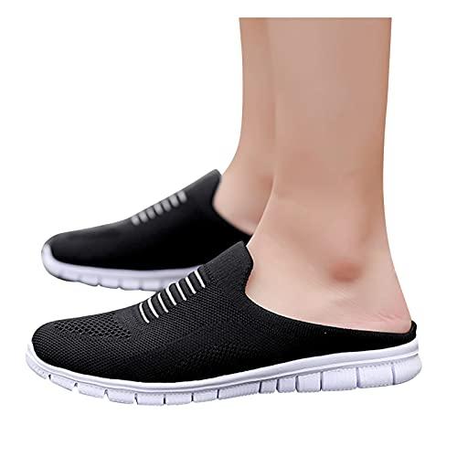 FeelFree+ Zapatillas Planos Verano de Mujer Zapatillas Plataforma de Malla Slip-On Flat Beach Zapatillas Transpirables Zapatos Interior y Exterior Sandalias Básico Moda Sandalias con Chanclas