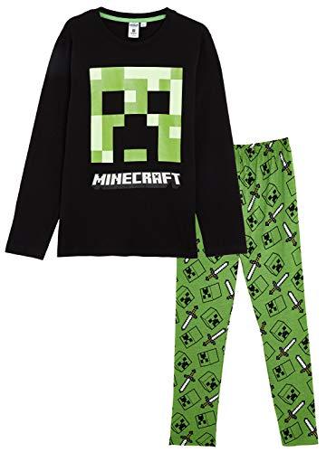 Minecraft Schlafanzug Für Jungen, Kinder Schlafanzug Lange mit Creeper und Grün Spitzhacke Motiv, Pyjama Langarm Kinder, Zweiteiliger Kinder Pyjama, Nachtwäsche Kleinkinder Süß (7/8 Jahre)